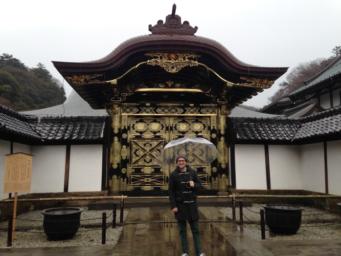 Doing my best Mary Poppins impression at Kenchoji Temple - the first Zen temple in Japan.