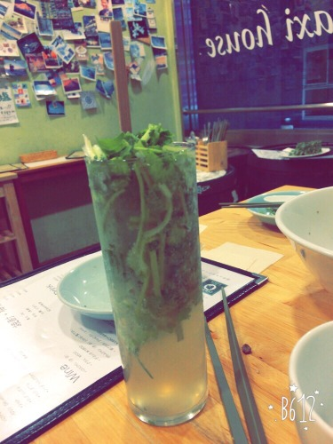 Yes, that is coriander in a drink and yes, it was good.