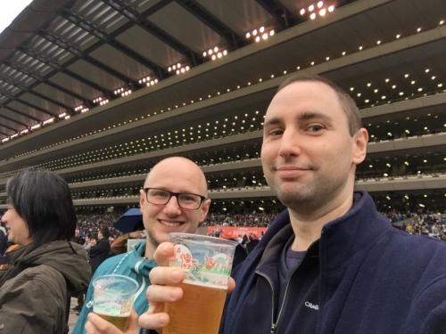 Smiling to hide the fact we'd just lost cash. Photo from https://tokyofox.wordpress.com/2016/11/29/a-day-at-the-races-for-the-japan-cup/
